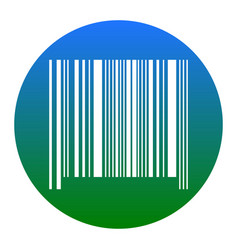 Bar code sign white icon in bluish circle vector