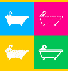 Bathtub sign four styles of icon on vector