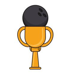 bowling trophy sport golden image vector image
