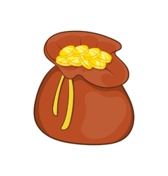 Brown money bag full of coins icon cartoon style vector