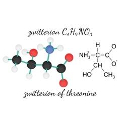 C4H9NO3 zwitterion of threonine amino acid vector image