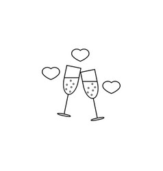 Clinking champagne glasses with hearts line icon vector