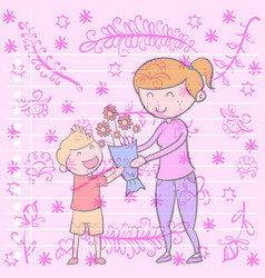 collection of mother day greeting card vector image vector image