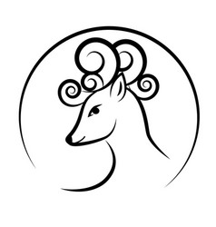 deer head with antlers cute circle outline drawn vector image