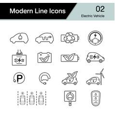 electric car icon set 2 hybrid vehicle symbol vector image