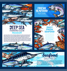 fish and seafood fishing club banner template set vector image