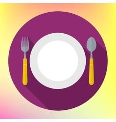 Flat dinner plate spoon fork vector