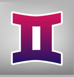 Gemini sign purple gradient icon on white vector