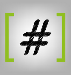 hashtag sign black scribble vector image vector image