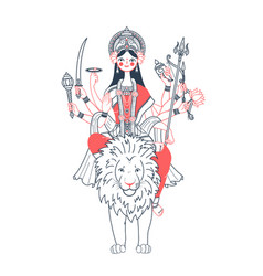 Icon of goddess durga two colors vector