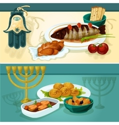 Jewish cuisine dishes for holiday dinner banners vector
