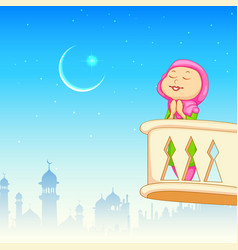 Kid offering namaaz for eid celebration vector