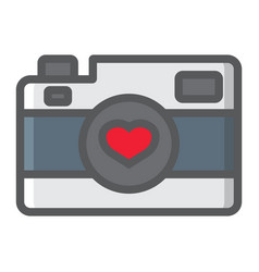 Love camera filled outline icon valentines day vector