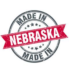 Made in nebraska red round vintage stamp vector