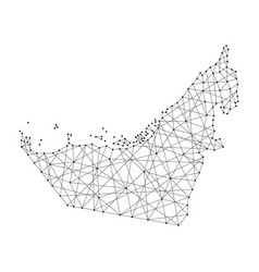 map of united arab emirates from polygonal black vector image vector image
