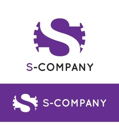 minimalistic violet S letter logotype vector image vector image