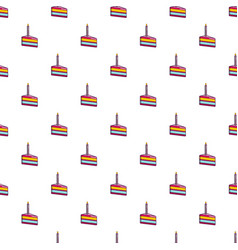 Piece of birthday cake with candle pattern vector