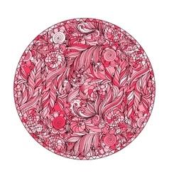 Pink romantic round patterns for meditation design vector