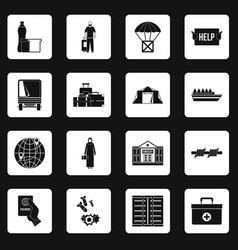 Refugees problem icons set squares vector
