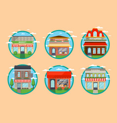 Restaurant and shop facade round label set vector