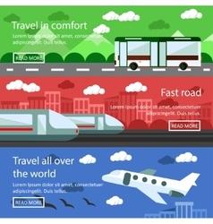 Set of transportation banners in flat design vector