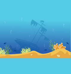 Silhouette of big ship on blue sea landscape vector