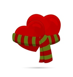 Two hearts wrapped up with a scarf vector