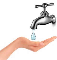 Water tap with drop and hand vector image