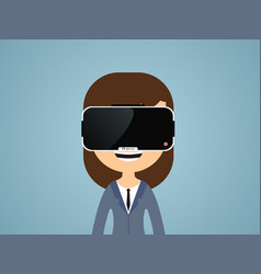 woman in virtual reality glasses vector image