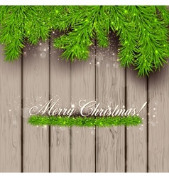 Wooden texture and Christmas fir tree vector image vector image