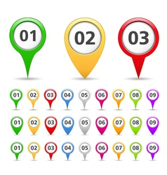 Map markers with numbers vector
