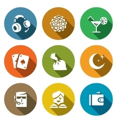 Set of night club icons music lighting vector