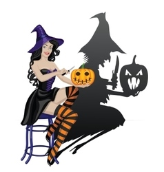 Witch and pumpkin vector