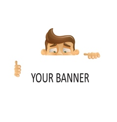 Man holding a banner ad in hands vector