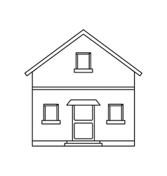 Outline front view house home vector