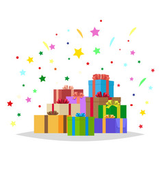 bunch of presents holiday collection vector image