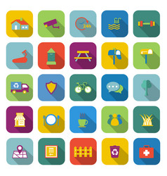 Village color icons with long shadow vector