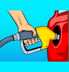 Gasoline filling comic book style vector