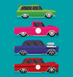 Hotrod flat old school race car set vector