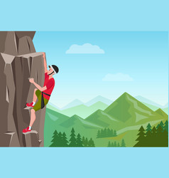 Rock climbing man male on the rock extreme vector