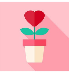 Pot with flower with heart vector