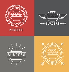 Burger logo design elements in linear style vector