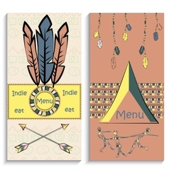 Set ethnic indian menu vector