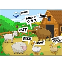 Farm animals talks sound cartoon educational vector