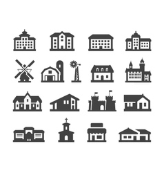 House icons set collection elements hotel real vector