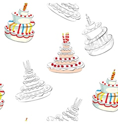 seamless background with wedding cake vector image