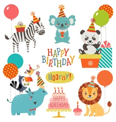 Cute animals birthday wishes vector