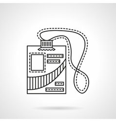 Reporter id badge flat line icon vector