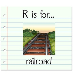 Flashcard letter r is for railroad vector
