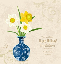 Vintage card vase with bouquet of daffodils vector